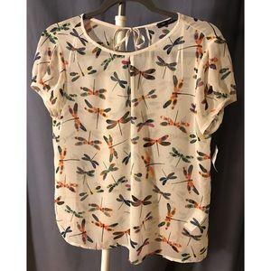 NWT Zara Dragon Fly Short Sleeved Blouse